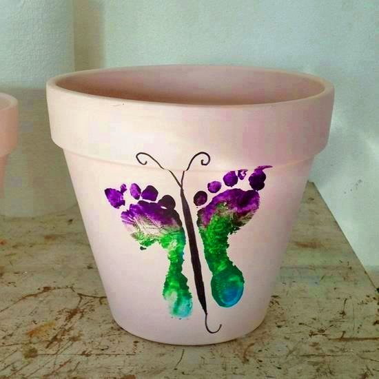 Twelve Butterfly Inspired Designs for your Garden- baby butterfly foot print pot