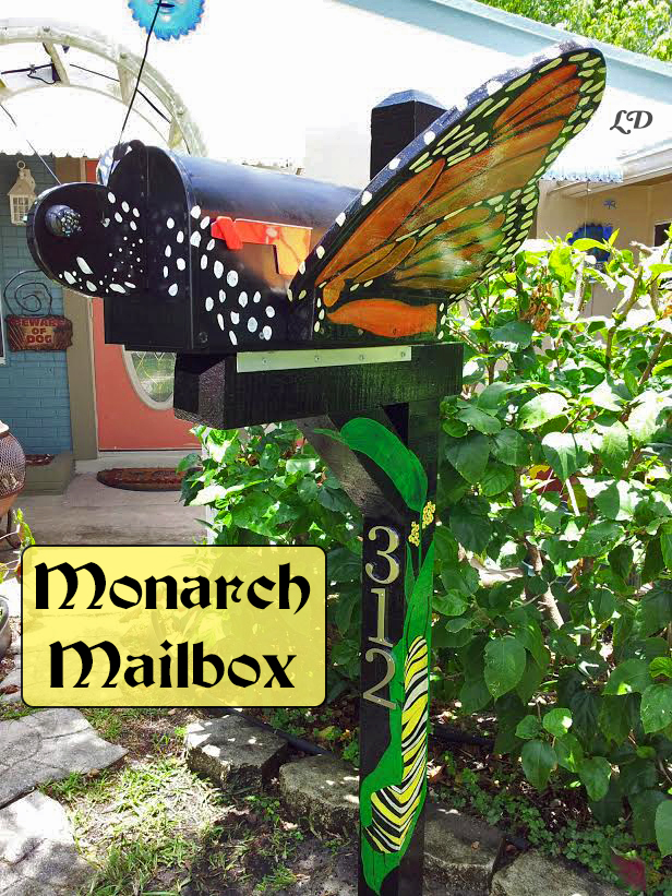 A DIY Monarch Mailbox with materials listed if you'd like to try making this at home...
