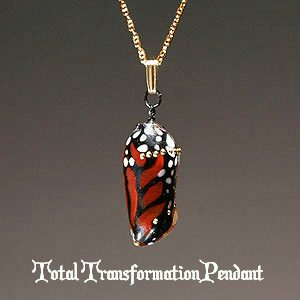 Total Transformation Monarch Chrysalis Pendants by Jude Rose