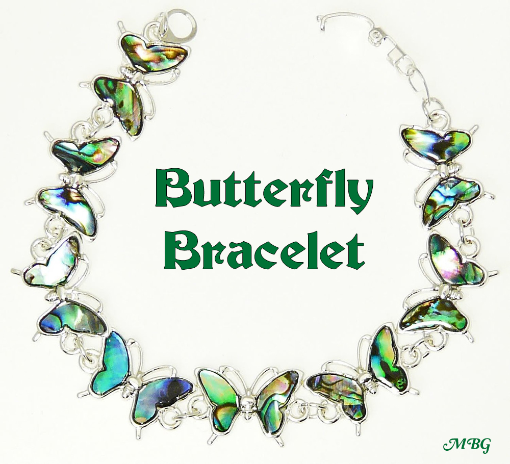 Paua Shell Butterfly Bracelet- an affordable butterfly gift idea for birthdays and other special occasions.