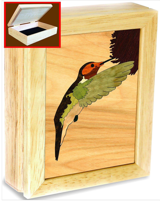 gift idea hand crafted wood hummingbird box for keepsakes jewelry