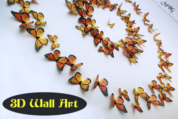 3D Butterfly Wall Art makes a stunning wall centerpiece in any room of the house- Butterfly Gift Idea 3