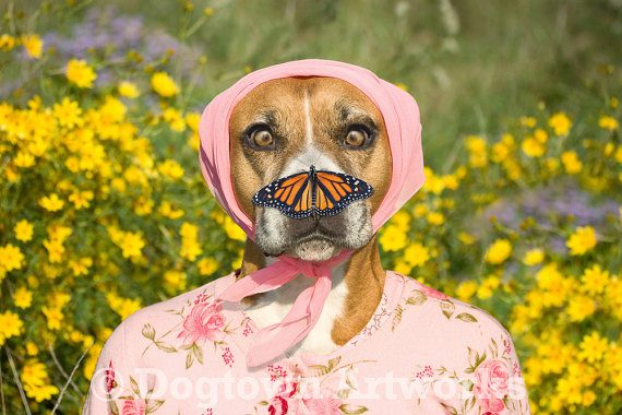 Unique Monarch Butterfly Art with Dogs on Prints, Canvas, Greeting cards- Butterfly Gift Idea 2