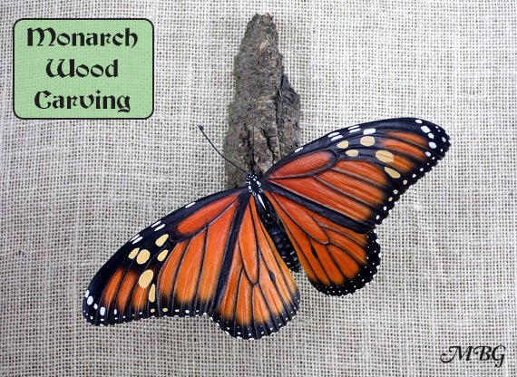 Hand Made Monarch Butterfly Wood Carving- Butterfly Gift idea 1