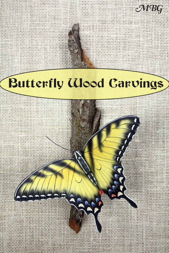 Hand Crafted Swallowtail Wood Carving- Butterfly Gift Ideas