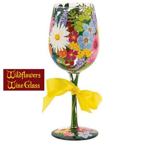 Lolita Wildflowers Hand Painted Wine Glass