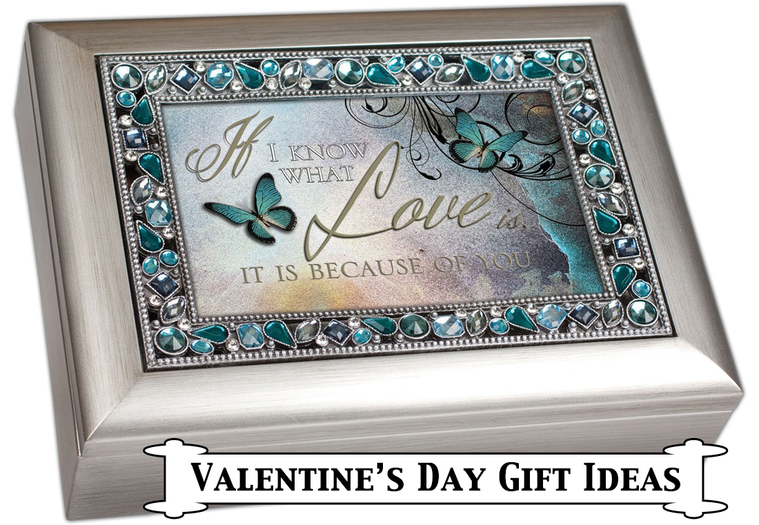 Decorative Butterfly Jewelry and Music Box with Saying- If I know what love is, it is because of you