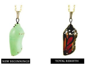 Monarch transformation pendants are glass blown butterfly jewelry created to look like real life monarch chrysalises.