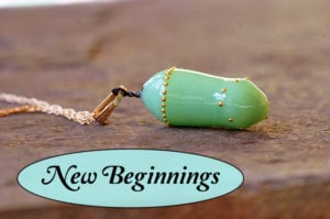 'New Beginnings' Monarch Transformation Pendant- Inspirational Butterfly Jewelry glass art created to look like a real monarch chrysalis
