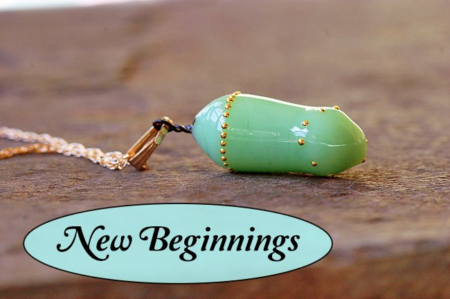 'New Beginnings' Monarch Transformation Pendant- Inspirational Butterfly Jewelry Hand Crafted to look like a Real Monarch Chrysalis.