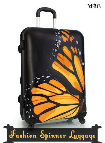 Butterfly Travel Gift Ideas- Monarch Butterfly Luggage Piece or Luggage Set with 360° Spinner Wheels, for those who like to travel in Monarch Style.