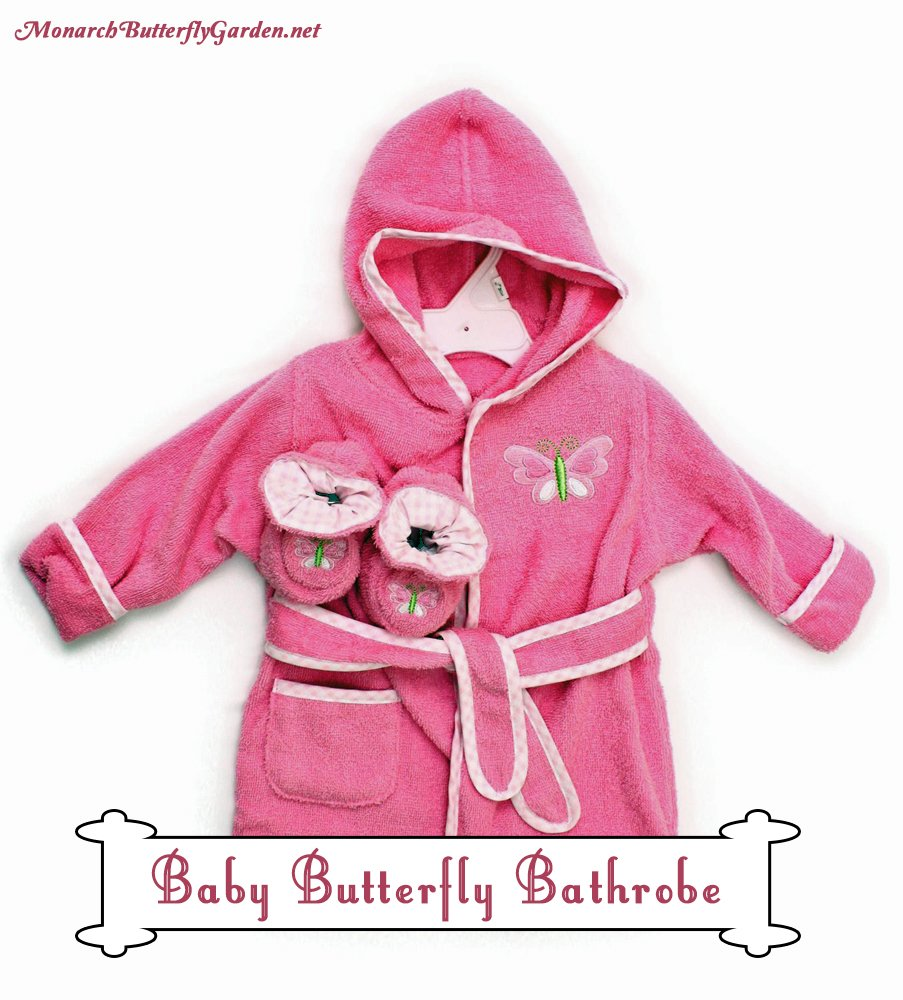 Baby Shower Gift Ideas with Butterfly Style- Pink Butterfly Bathrobe with Adorable Matching Booties