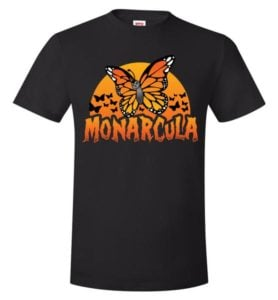Monarcula and the Batterflies- halloween-themed monarch butterfly t-shirts for all sizes