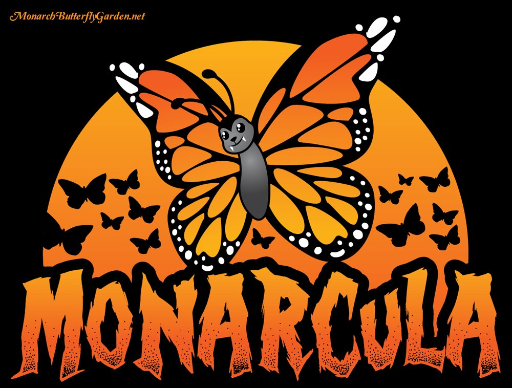 Monarcula and the Batterflies is a monarch butterfly halloween design available on t-shirts and decal stickers...