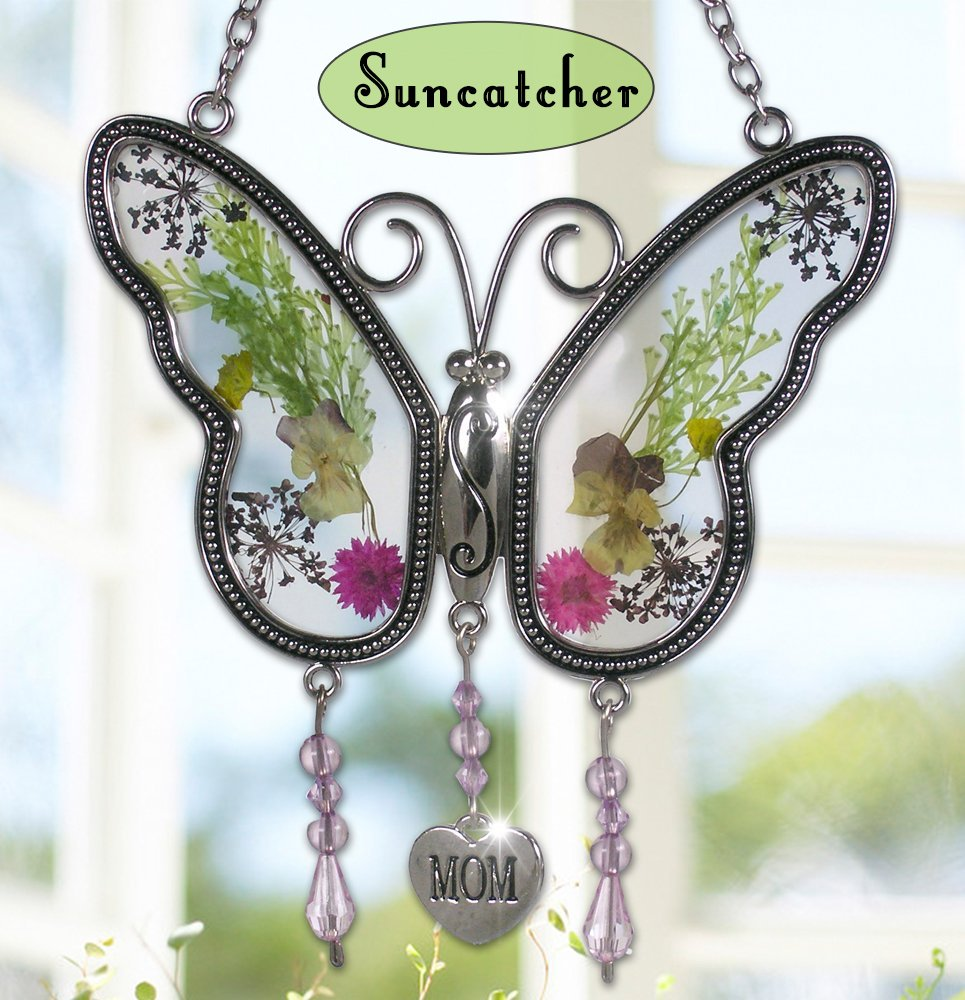 A Butterfly Suncatcher with an Engraved Heart for Mom, Sister, or Grandma- Butterfly Gifts for her