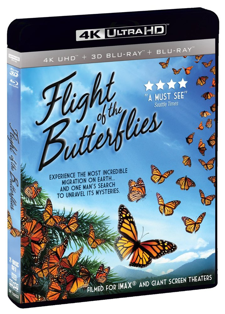 See the Monarch Migration as never before and hear the story of one man's search to find the missing monarchs. Flight of The Butterflies is now available on 4k, 3D bluray, regular bluray...and netflix!