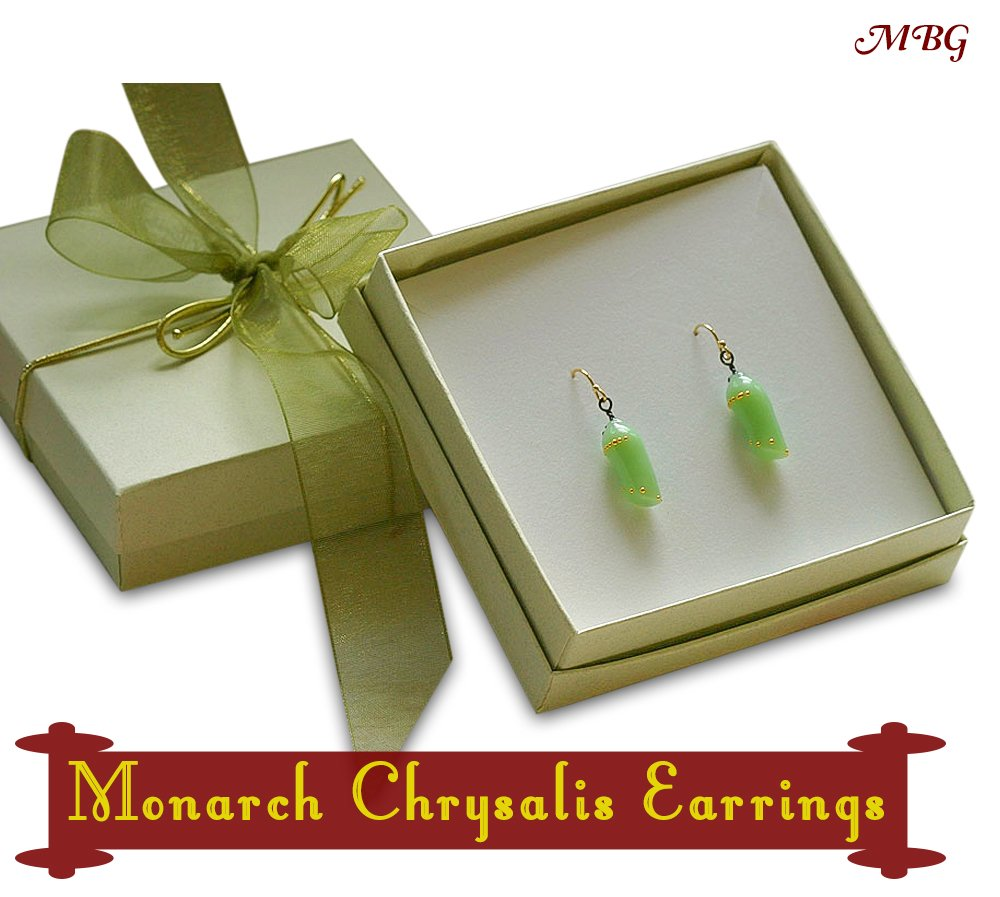 Hand Made Monarch Chrysalis Earrings with gift box included- 12 butterfly gift ideas