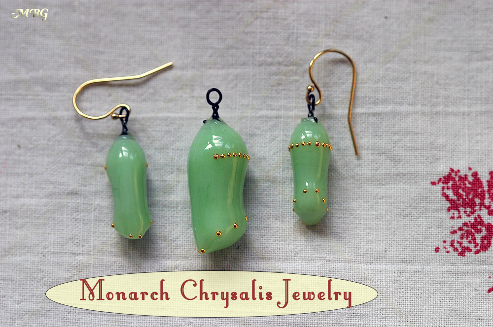 Hand made monarch chrysalis jewelry by glass artist Jude Rose- monarch chrysalis earrings and pendants make great butterfly gifts. See more pictures and info...