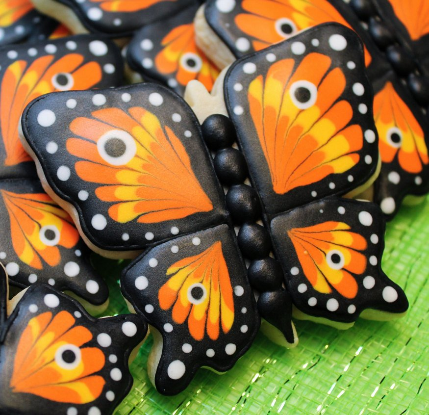 Hand-crafted Monarch Butterfly Cookies are tasty treats for a Festive Halloween Party