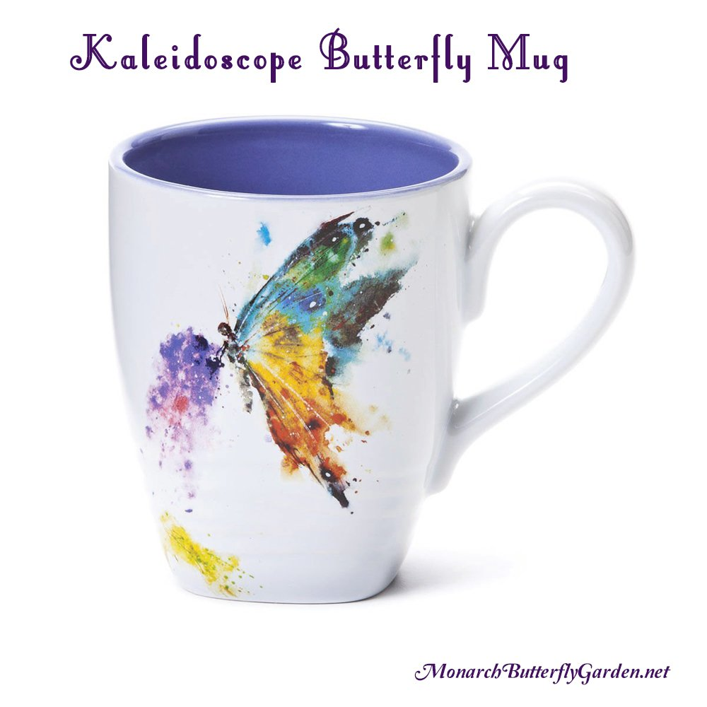 Kaleidoscope Butterfly Mug featuring colorful butterfly art- butterfly gift ideas