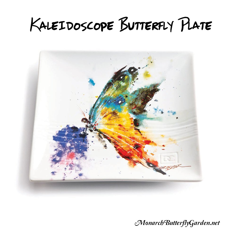 Kaleidoscope butterfly stoneware snack plate eith beautiful butterfly artwork- butterfly gift idea