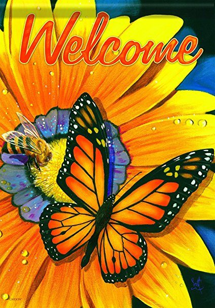 Butterfly Garden Flag- Gift idea for those who bright colors, bees, and monarch butterflies.