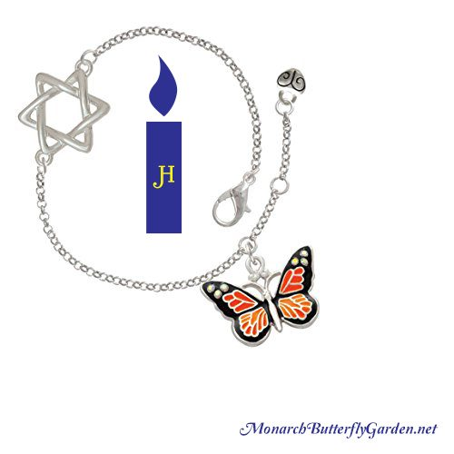 Monarch Butterfly Star of David Bracelet- Hanukkah Gift idea