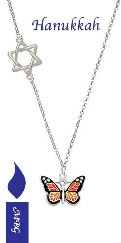 Star of David Monarch Butterfly Necklace- Hanukkah Gift Idea