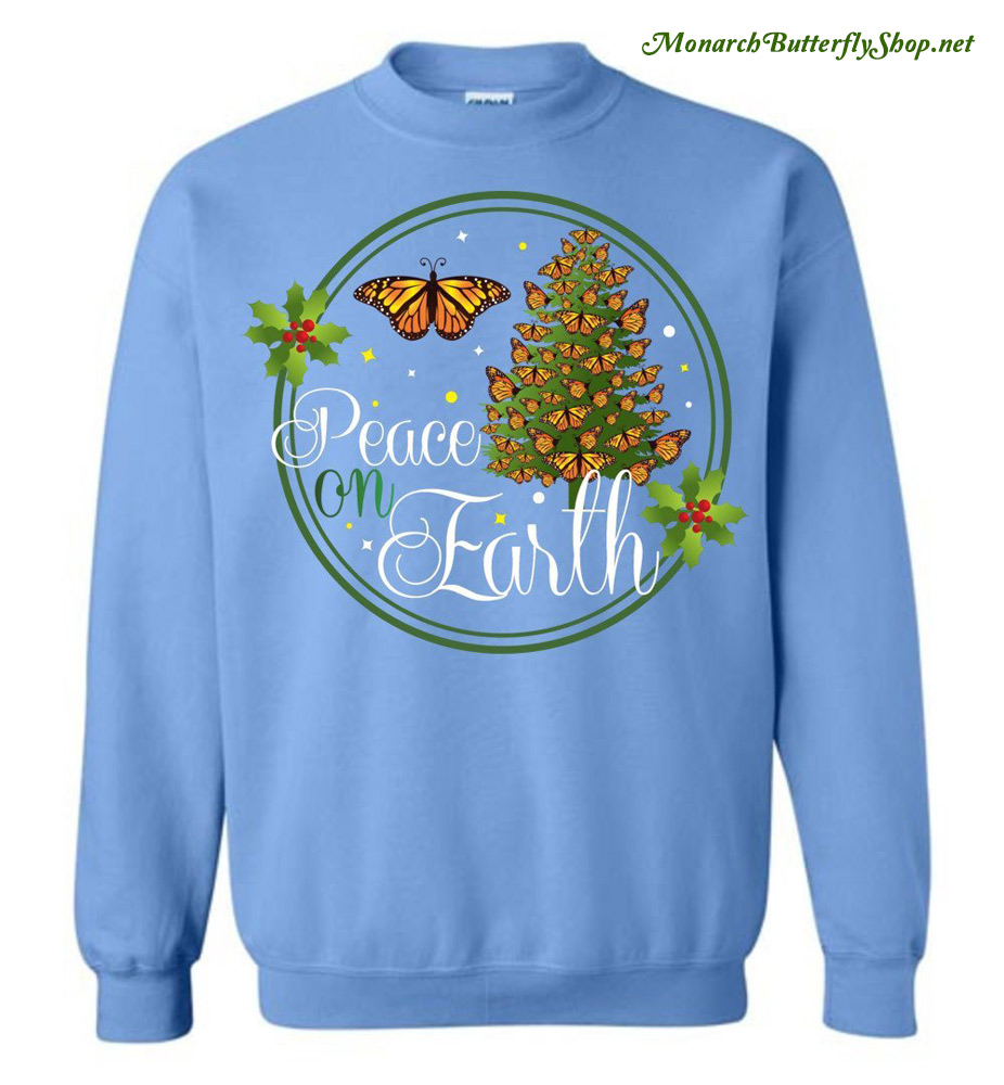 c73552160962 Day 1- Peace On Earth Monarch Butterfly Christmas T-shirts