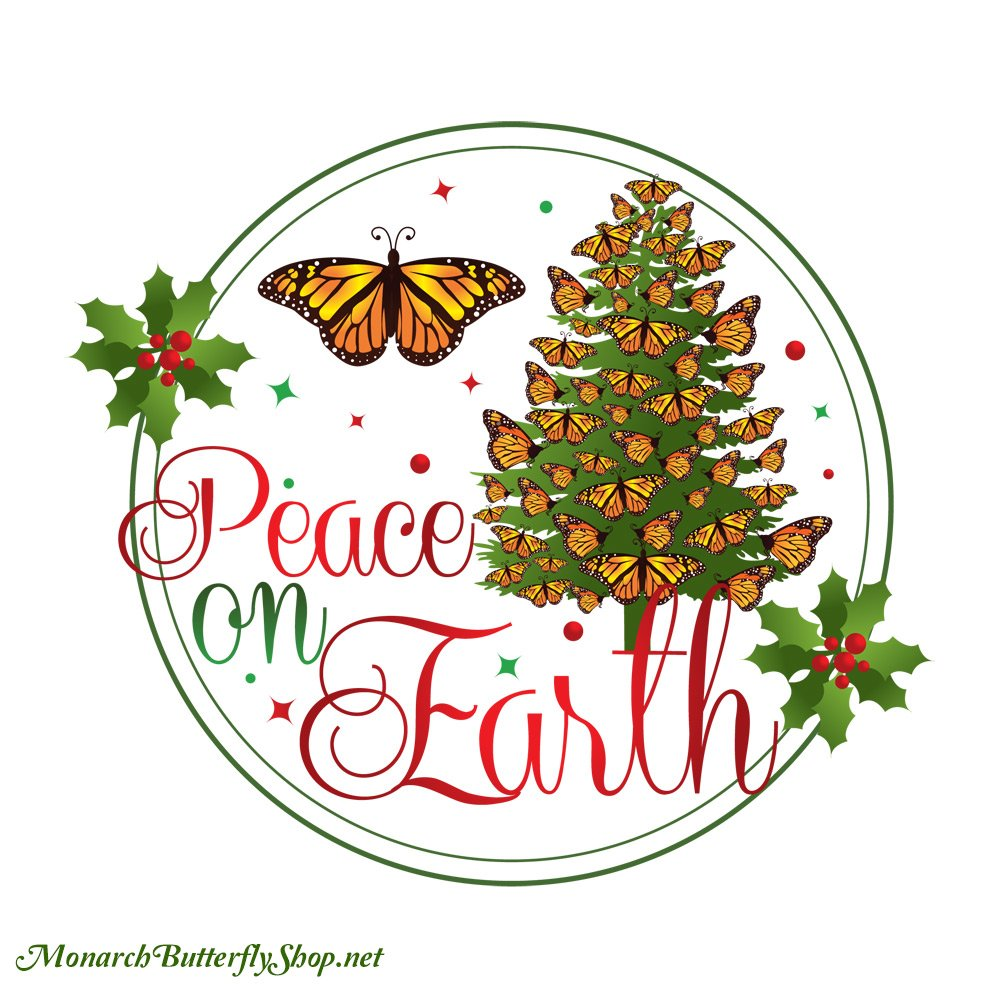 Peace On Earth Christmas Monarch Butterfly Shirt Collection