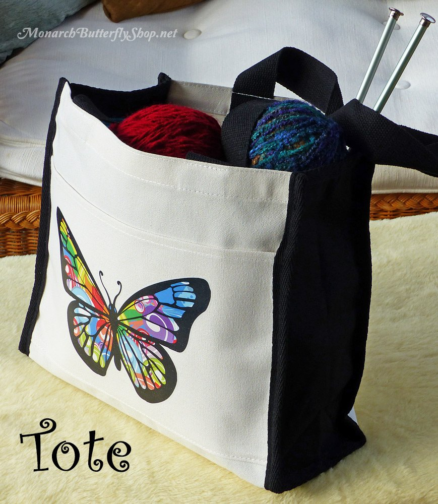 14oz Butterfly Natural Tote Bag for knitting supplies, groceries, weekend bag, etc.- Butterfly Gift Idea