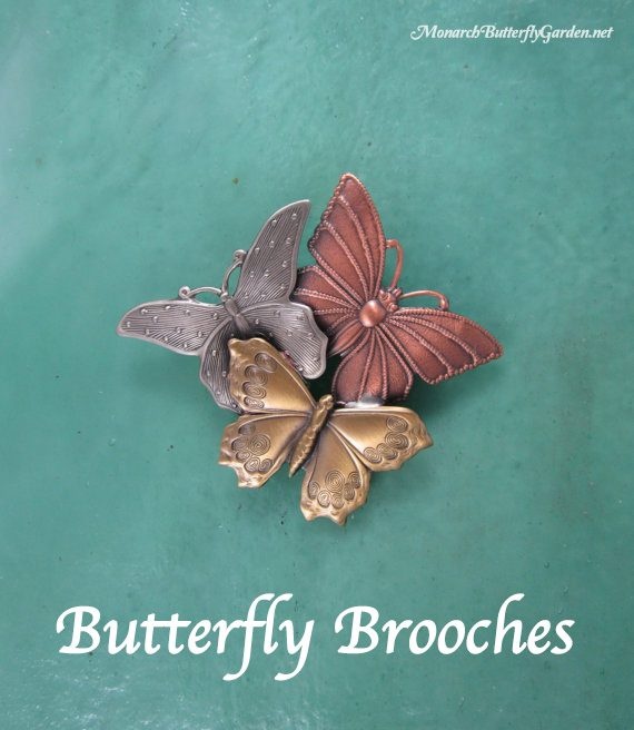 Butterfly Brooches hand crafted with mixed metals copper, silver, and brass- butterfly gift idea