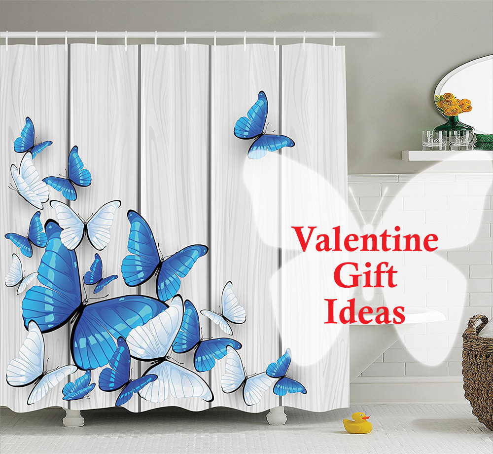 Blue and white butterflies shower curtain- butterfly gift idea