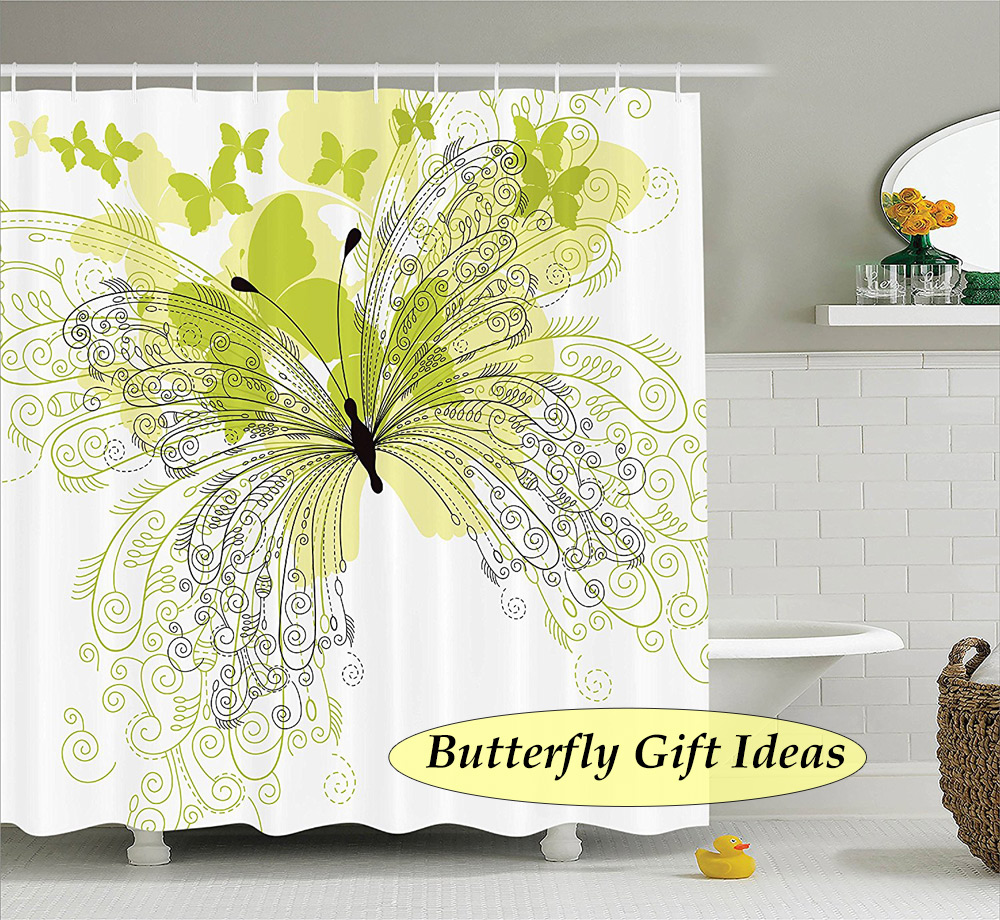 Green, Yellow & Gray Butterflies against a white background for a stunning shower curtain- butterfly gift idea
