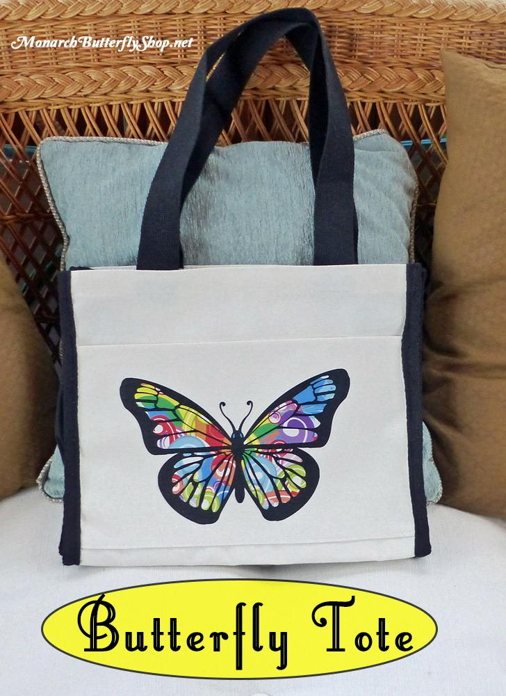 Natural Canvas Tote Bag- Butterfly Gift Ideas for Mother's Day?