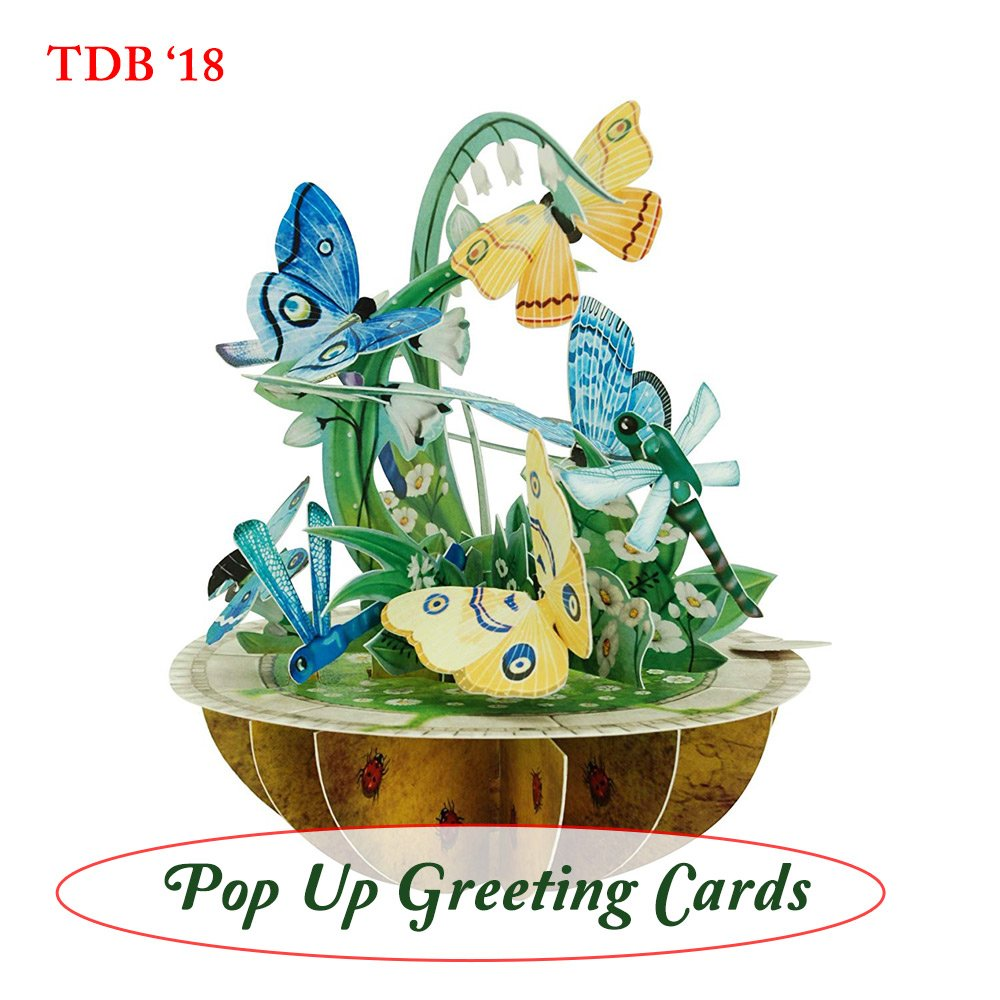 Butterflies, Ladybugs, and Dragonflies 3D Popup Greeting Card