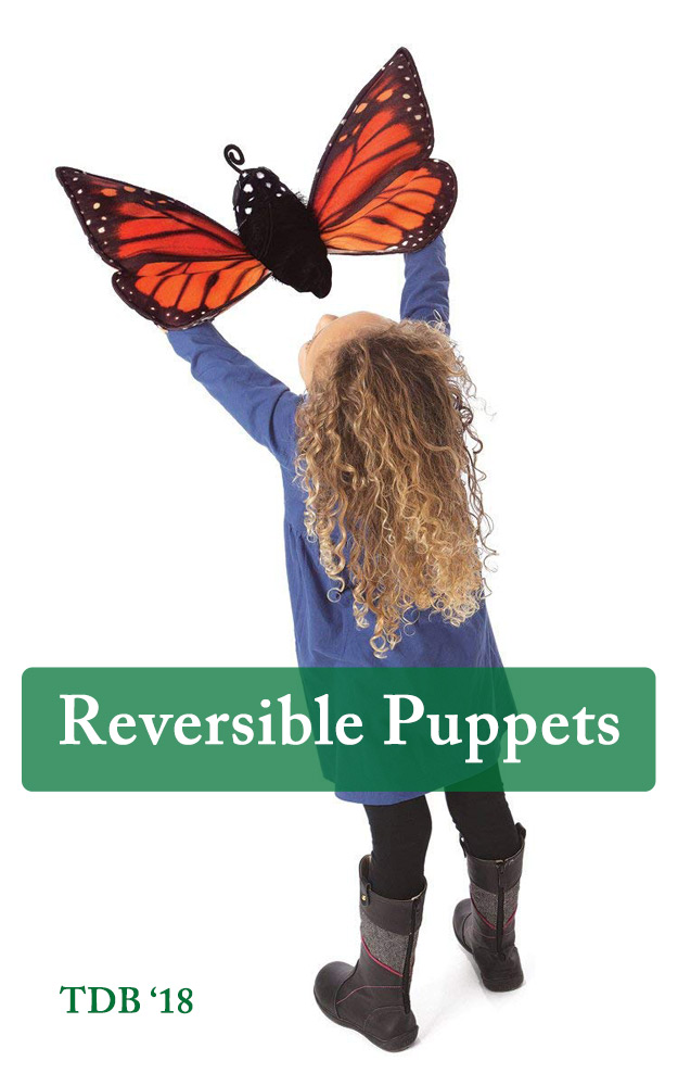 Monarch Butterfly Reversible Hand Puppet- Gift Ideas for Kids