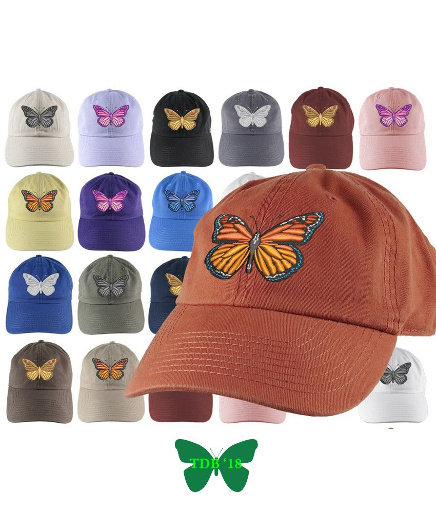 Adjustable Monarch Butterfly Hat- Monarch Embroidery