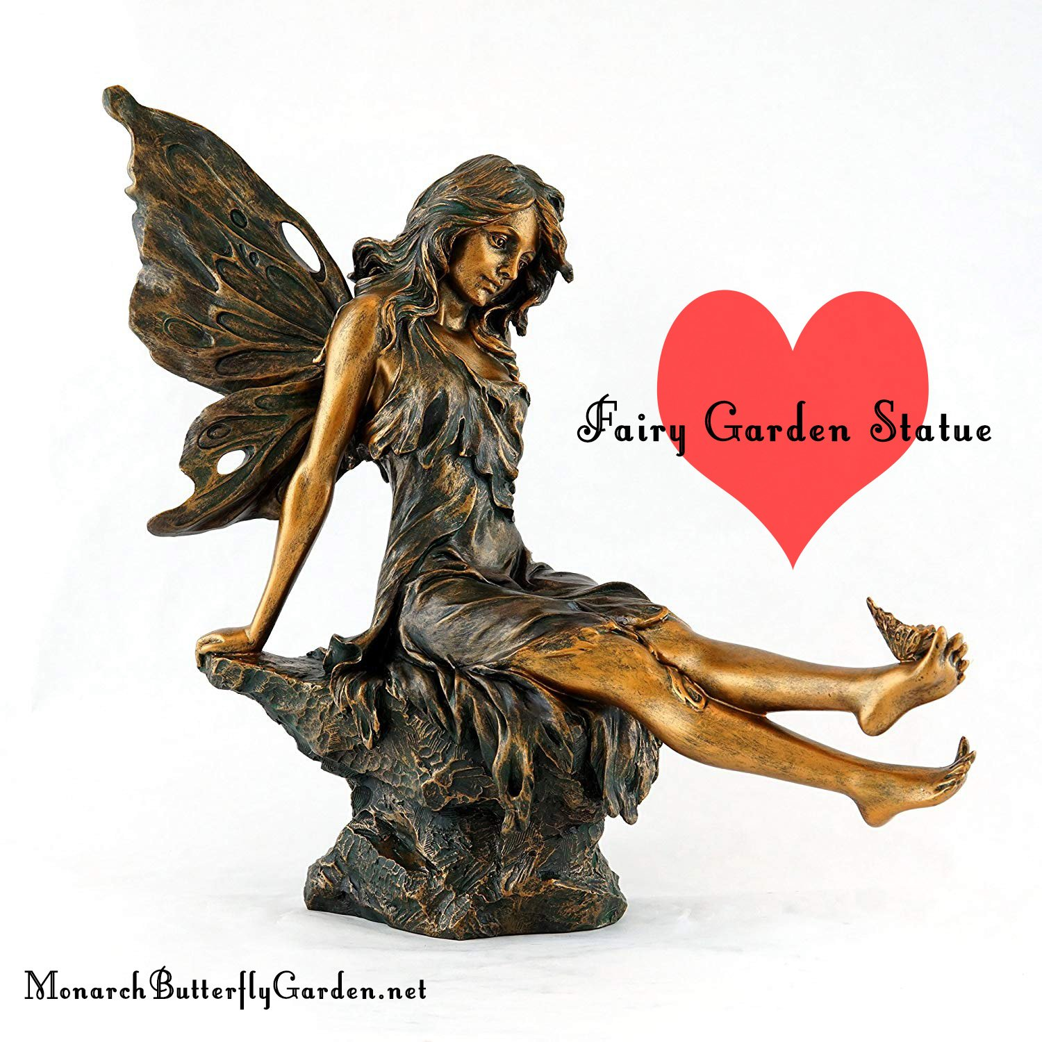 Bronze Fairy Garden Statue with Butterfly on Foot- Gift Idea