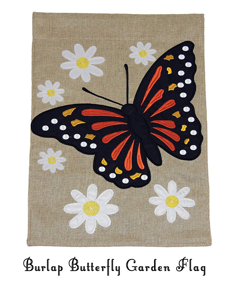 Burlap Monarch Butterfly Garden Flag with White Flowers