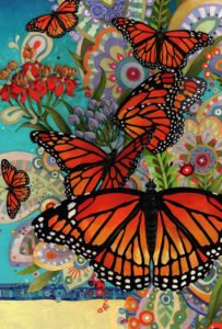 Monarch Butterfly Garden Flag with a front and center Viceroy