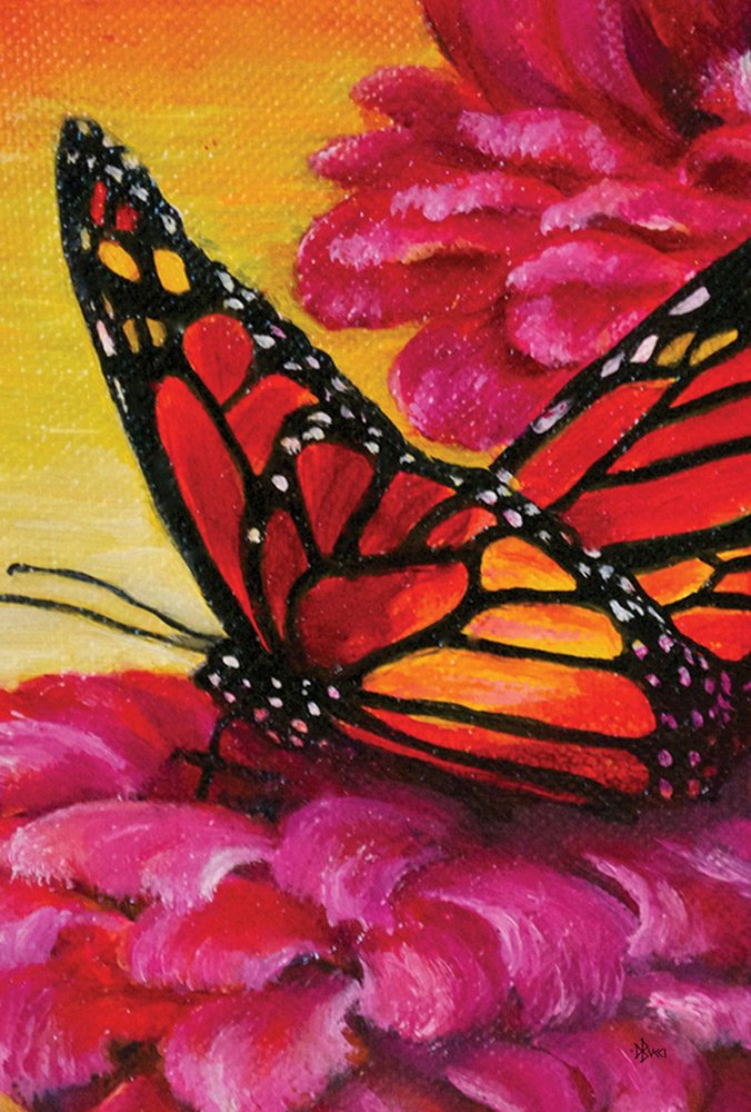 Painted Monarch on Pink Flower Butterfly Flag