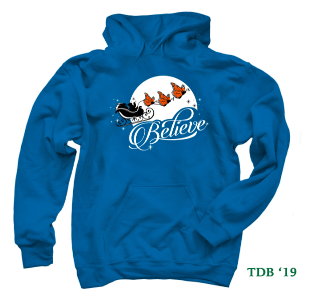 Believe Christmas Monarch Butterfly hoodies and t-shirts