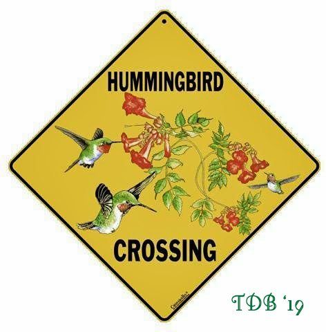 Hummingbird Crossing Garden Sign- garden gift idea