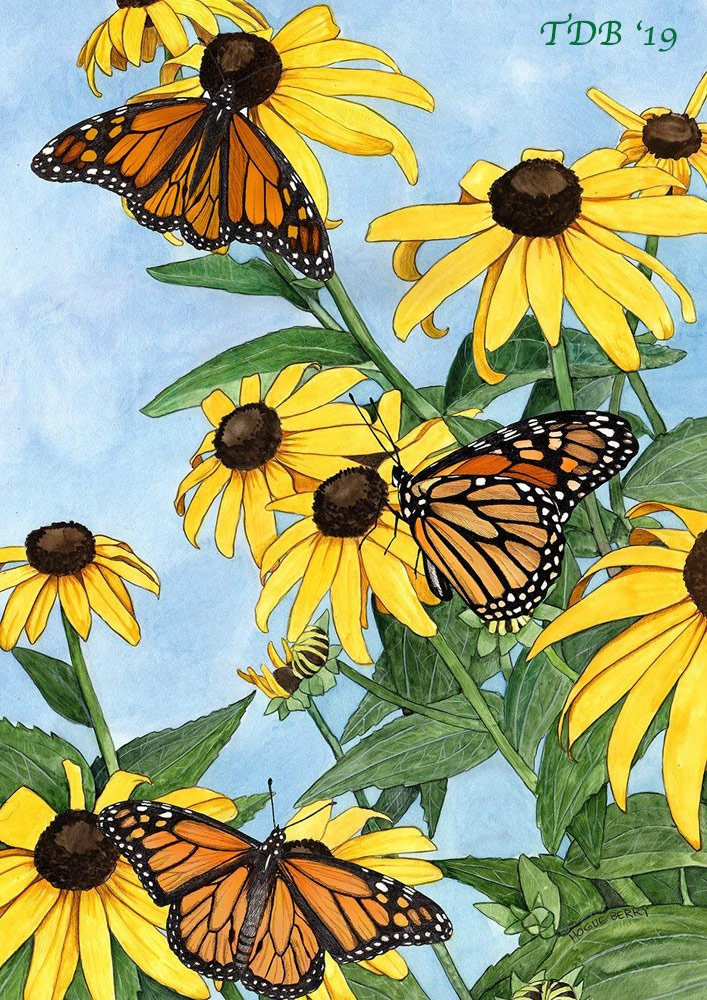 Monarch Butterflies on yellow flowers butterfly garden flag