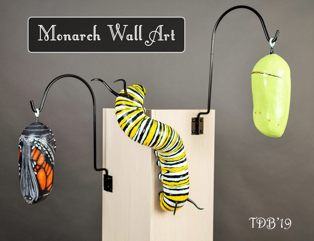 Monarch Fine art Sculptures- Large butterfly life cycle art
