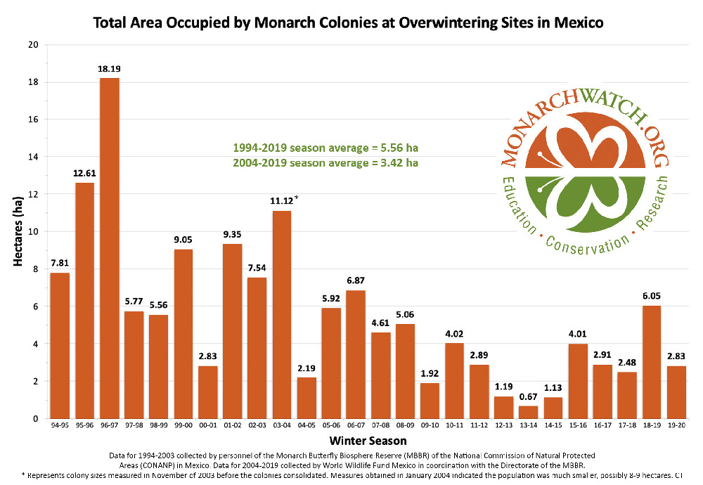 monarch population estimate 2020 mw monarch season