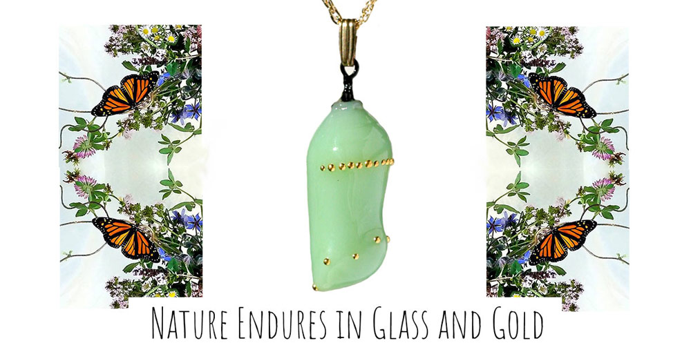 Glass and Gold Monarch Chrysalis Pendants by Glass Artist Jude Rose