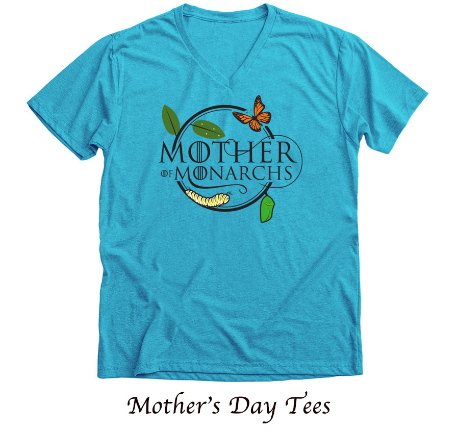 mother of monarchs turqoise blue vneck good mother's day gifts