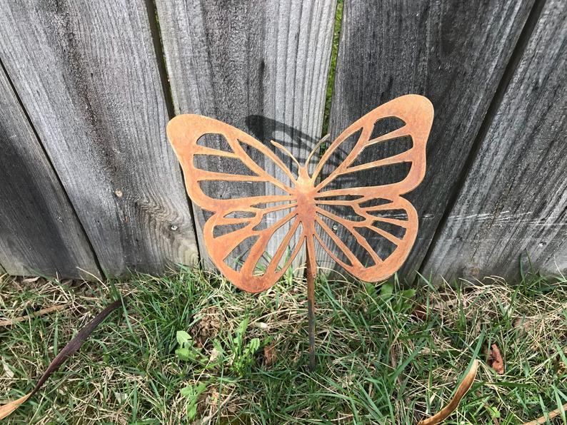 butterfly metal garden stake
